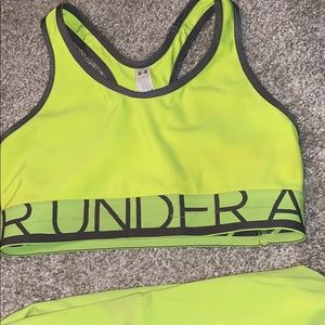 Lime green/yellow under armor workout clothes
